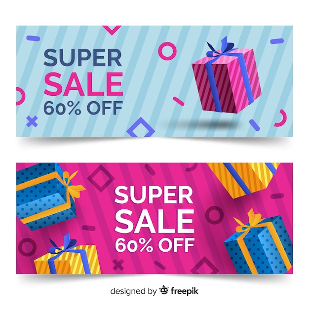 Realistic geometric sale banner collection Free Vector