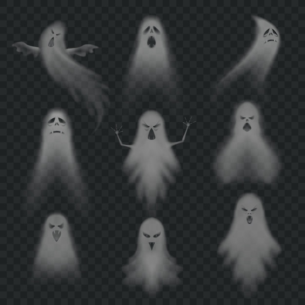 Realistic ghost set Premium Vector