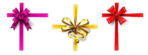 현실적인 선물 활. 활과 교차 리본, 선물 상자 리본 장식. 핑크, 골드, 레드 리본 벡터 세트. 장식 묶인 새틴 테이프, 우아한 휴일 선물 포장 장식 컬렉션. 프리미엄 벡터