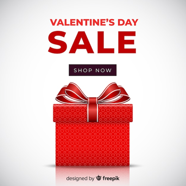 Realistic gift valentine sale background Free Vector