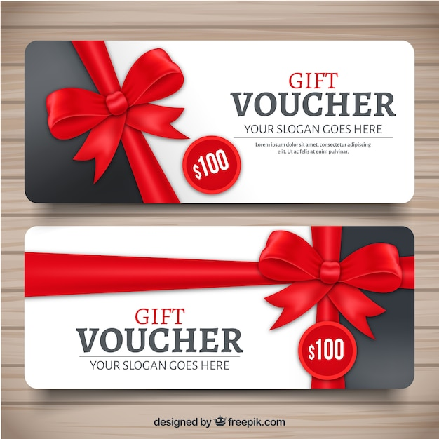 realistic gift voucher with red decorative bow vector free download. Black Bedroom Furniture Sets. Home Design Ideas