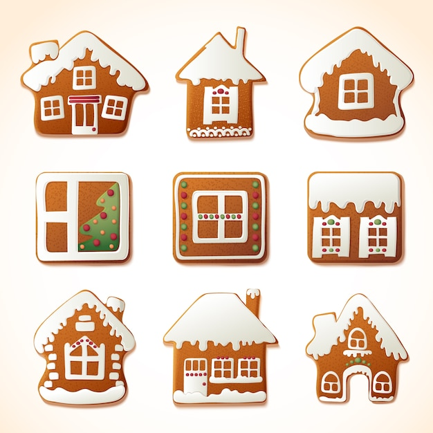 Realistic gingerbread house collection Free Vector