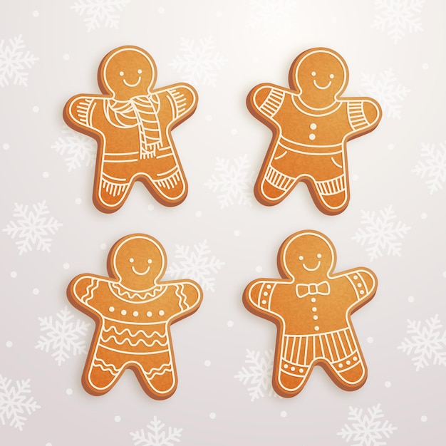 リアルなジンジャーブレッドマンクッキーコレクション Premiumベクター