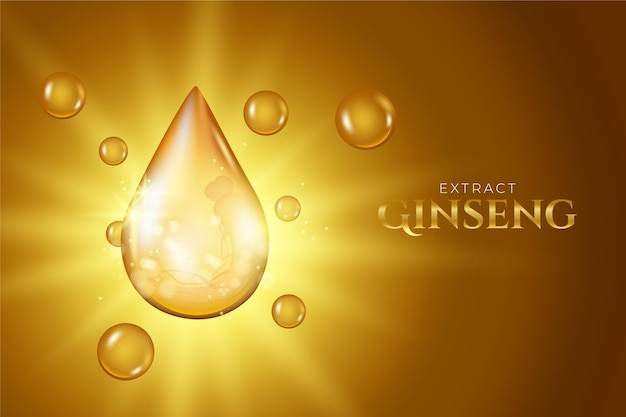Realistic ginseng ad background Premium Vector