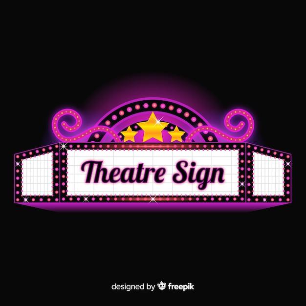 Реалистичный гламурный ретро театральный знак Бесплатные векторы