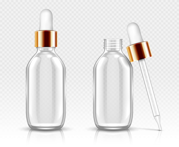 Реалистичные стеклянные флаконы с капельницей для сыворотки или масла. косметическая колба или флаконы для органической ароматической эссенции, антивозрастного необходимого коллагена для косметического ухода, изолированный прозрачный флакон 3d Бесплатные векторы