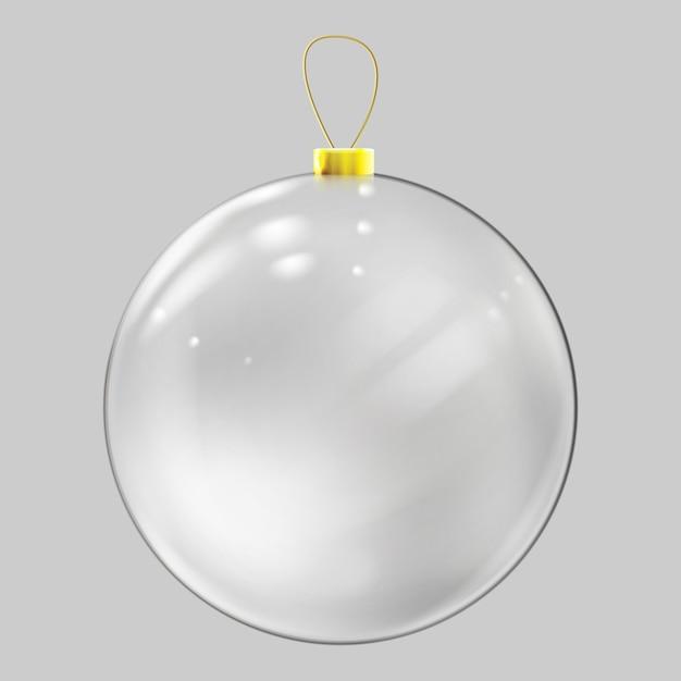 Realistic glass christmas ball. transparent christmas ball decoration. Premium Vector