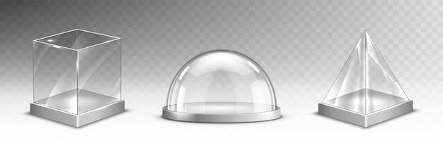 Cubo di vetro realistico, piramide, cupola, set natalizio Vettore gratuito