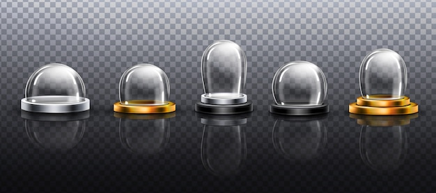 Realistic glass domes, christmas snow globe souvenirs, isolated crystal semisphere containers on silver and golden base of various shape and size. festive xmas gift. realistic 3d set Free Vector