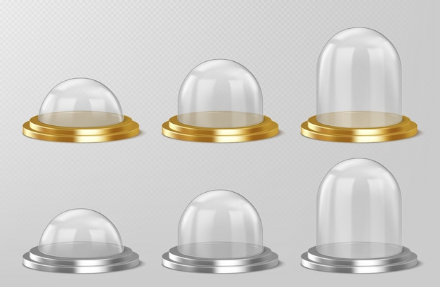 Realistic glass domes, christmas snow globe souvenirs, isolated crystal semisphere containers on silver Free Vector