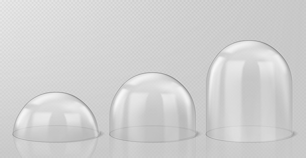 Realistic glass domes, christmas snow globe souvenirs isolated Free Vector