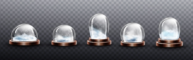 Realistic glass domes with snow, christmas globe souvenirs, isolated crystal semisphere containers on copper or brass base of various shape and size. festive xmas gift mock up, realistic 3d set Free Vector