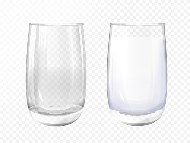 Free Vector Realistic Glass Empty And Milk Cup On Transparent Background