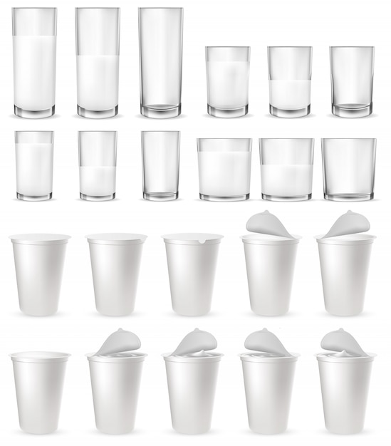 Realistic glass glasses Premium Vector