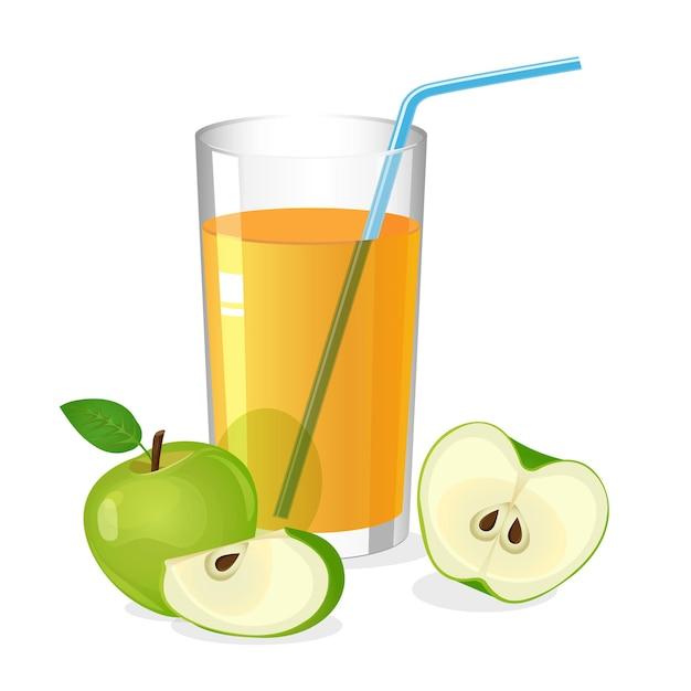 カクテルストローとリンゴジュースドリンクのリアルなグラス。リンゴの半分とスライスが白で分離されたジュース。フレッシュリフレッシュドリンク。ビタミンの自然な甘い部分。図 Premiumベクター
