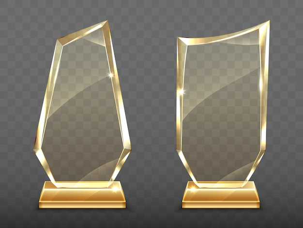 Realistic glass trophy awards on gold base Free Vector