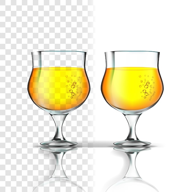 Realistic glass with apple cider or beer Premium Vector