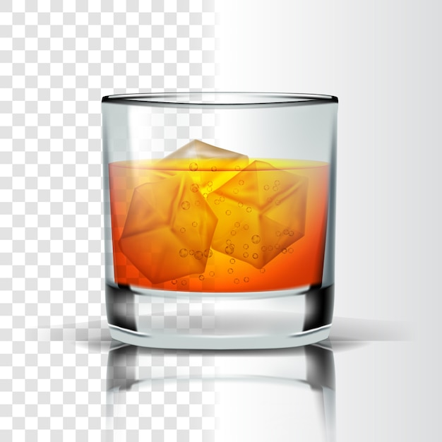Realistic Glass With Bourbon And Ice Cubes, Glass Ice Cubes Vector