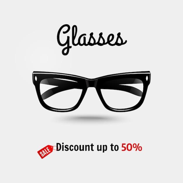 Realistic glasses, sale banner. Premium Vector