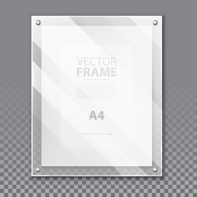 Realistic glassware 3d frame for photo or a4 picture. simple glass portrait on wall with paper page and shadow, reflection. modern board background for quote or box for museum exhibition. advertising Premium Vector