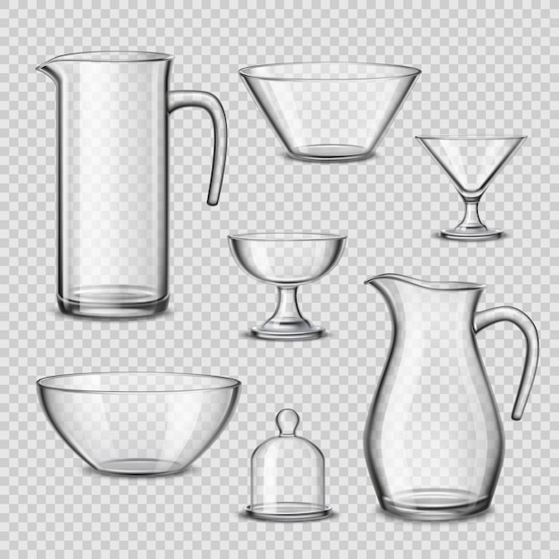 Realistic glassware kitchen utensils transparent background Free Vector