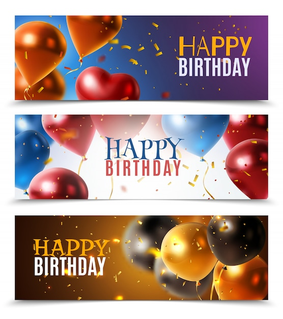 Realistic glossy banners Free Vector