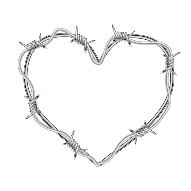 Realistic glossy barbed wire in heart shape on white Premium Vector