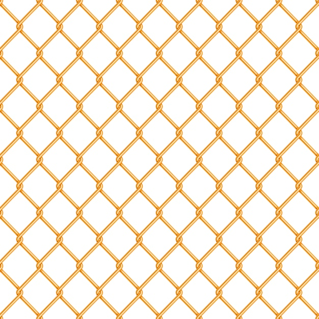 Realistic glossy gold chain link fence seamless pattern on white Premium Vector