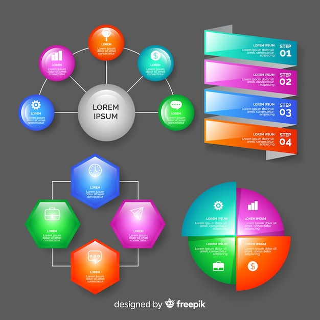 Realistic glossy infographic elements collection Free Vector