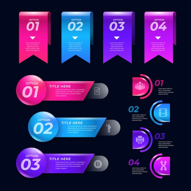 Realistic glossy infographic elements with text boxes Free Vector