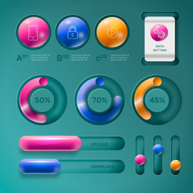 Realistic glossy infographic elements Free Vector
