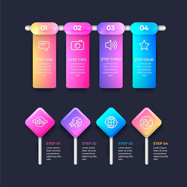 Realistic glossy infographic steps Free Vector