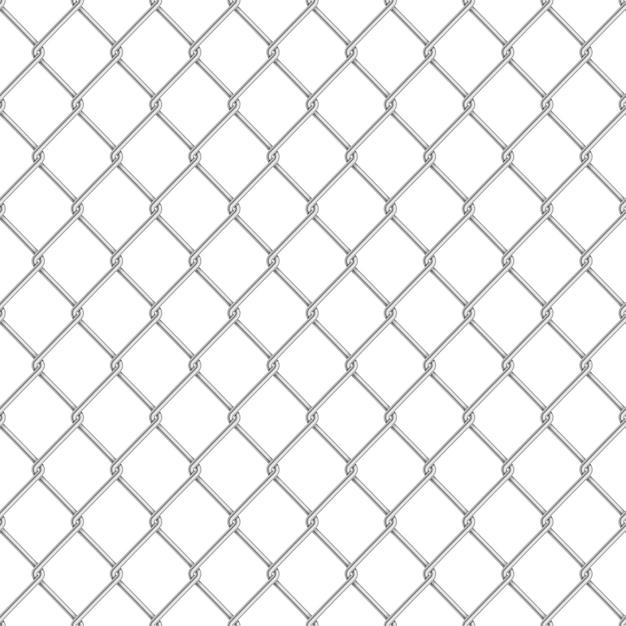 Реалистичная глянцевая металлическая цепь забор бесшовные узор на белом Premium векторы