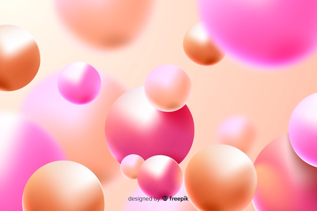 Realistic glossy plastic balls background Free Vector