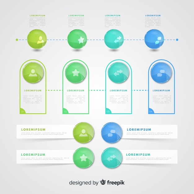 Realistic glossy plastic infographic element collection Free Vector