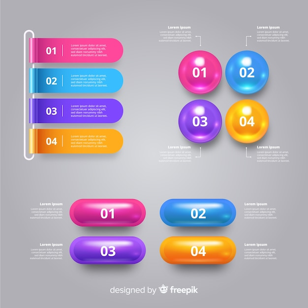 Realistic glossy plastic infographic template Free Vector