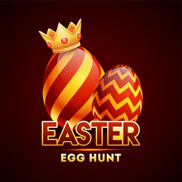 Realistic glossy red and orange color egg wearing crown on brown Premium Vector