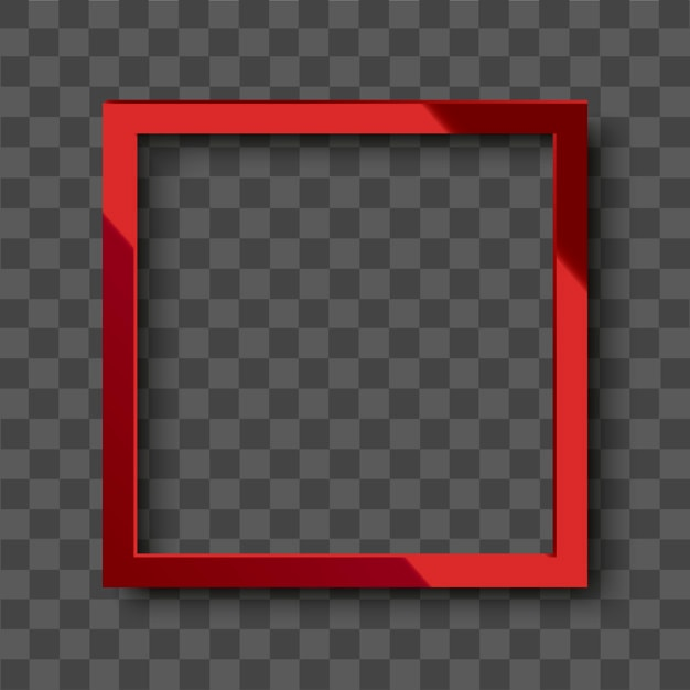 Realistic glossy red square frame on transparent background Premium Vector