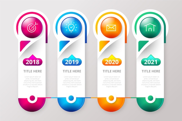 Realistic glossy template timeline infographic Free Vector