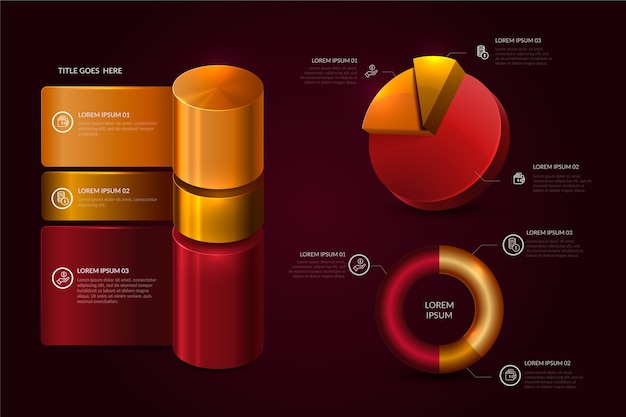 Realistic glossy timeline infographic Free Vector