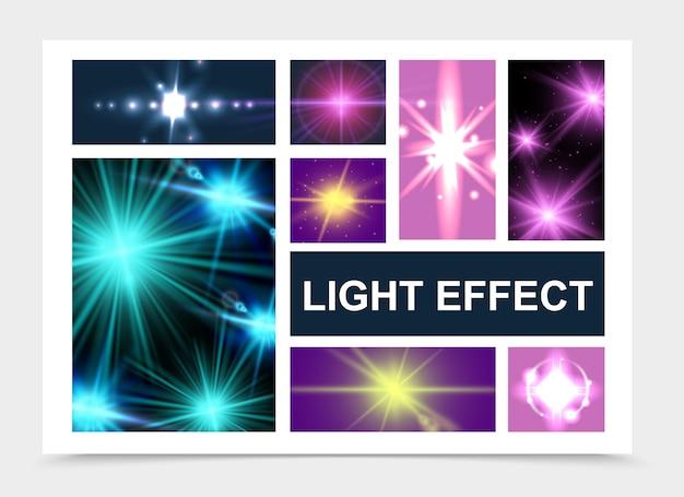 빛나는 별 렌즈 플레어 반짝이 스파클 효과 격리 설정 현실적인 빛나는 빛 효과 무료 벡터