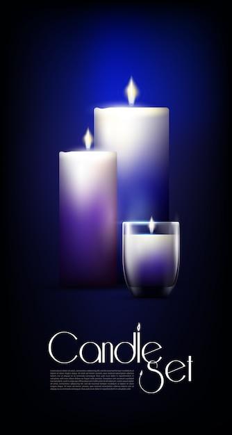 Set di candele incandescenti realistiche Vettore gratuito