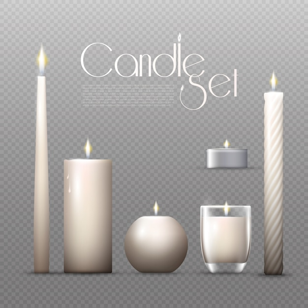 Realistic glowing candles set Free Vector