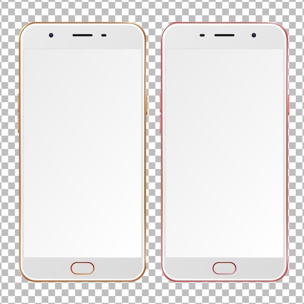 Реалистичные золотые и розовые смартфоны с пустыми экранами. Premium векторы