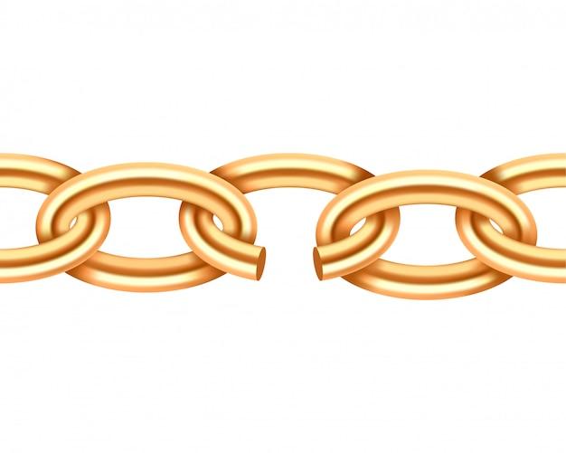 Реалистичные текстуры золото сломанной цепи. желтая связь цепи повреждения цвета изолированная на белой предпосылке. трехмерный элемент дизайна. Premium векторы