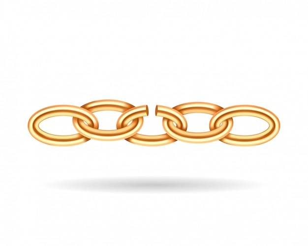 Realistic gold broken chain texture. yellow color demage chains link isolated on white Premium Vector