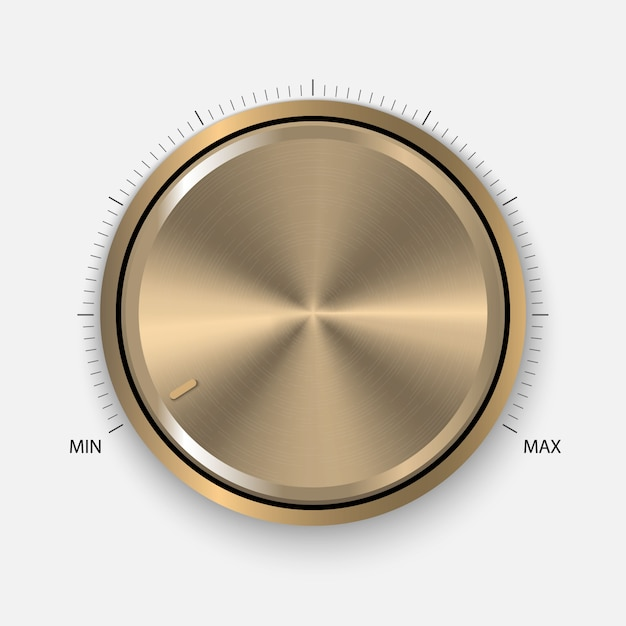 Realistic gold button with circular processing. Premium Vector