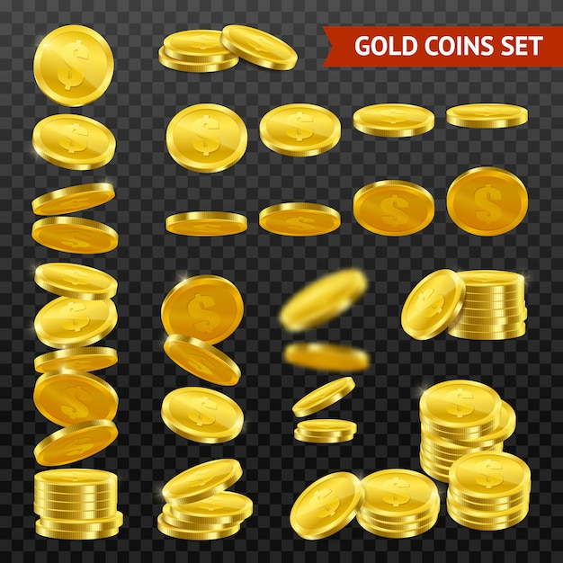 Monete d'oro realistiche darktransparent set Vettore gratuito