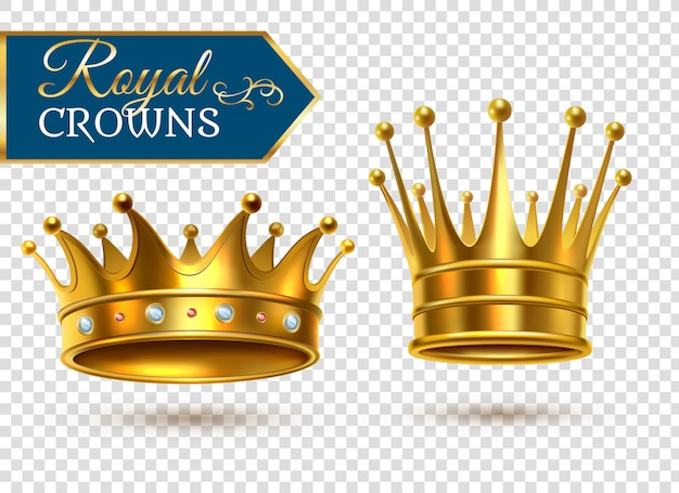 Realistic gold crowns transparent set Premium Vector