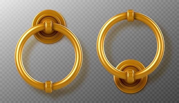 リアルなゴールドのドアノッカーハンドル、金色のリングノブ、光沢のあるヴィンテージの金属製ドアノブ、分離されたインテリアまたはエクステリアデザインの要素、3dベクトルイラスト、アイコン、クリップアート 無料ベクター
